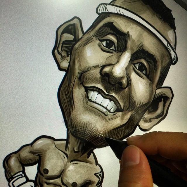 Muay Thai boxer digital caricature
