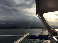 Cloudy sunset from banca en route to Puerto Galera, Mindoro #philippines