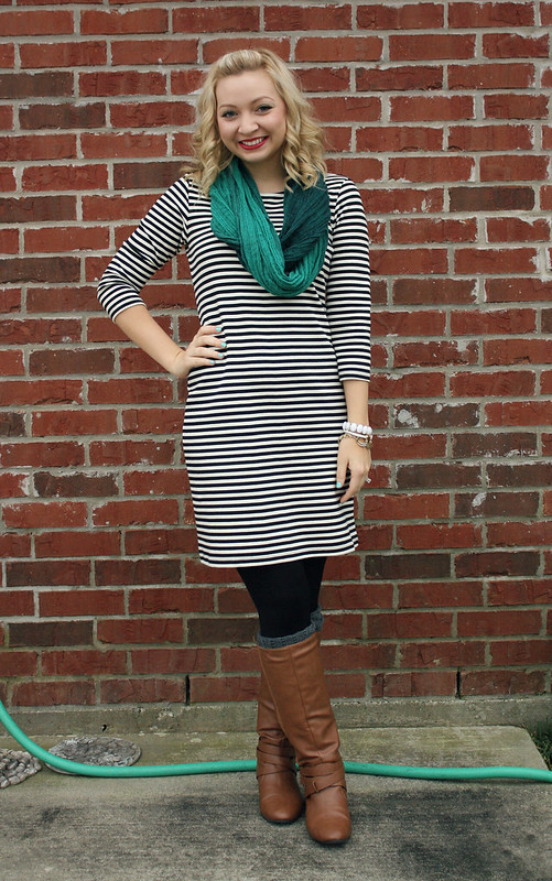 striped dress for winter
