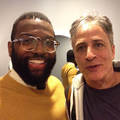 After being on #NightlyShow I got to meet the man Jon Stewart and share some kind words in both directions. I CAN begin to express how grateful I am for my life and the good people in it, but I can never FINISH expressing that gratitude. Moments like this