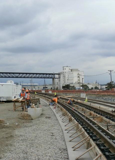 Photo of rail installation at Blake Street