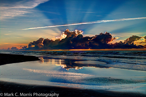 ocean reflection beach nature clouds sunrise canon outdoors surf northcarolina ripples atlanticocean sunbeam hdr topsailisland naturephotography surfcity sunstreak eos70d
