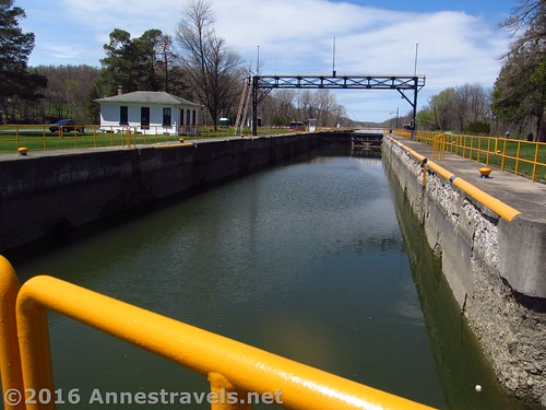 Lock 30. To get from the Erie Canal Path to Macedon Canal Park, you have to walk across the lock gates - pretty cool! Macedon, New York.