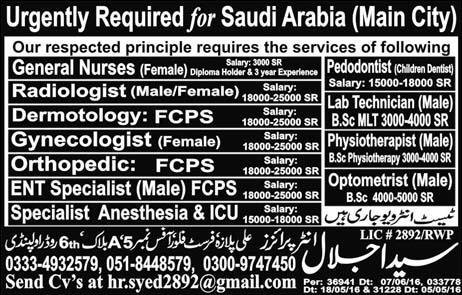 Medical Specialists Urgently Required for Saudi Arabia Main City