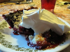 Blackberry Pie And Whipped Topping.