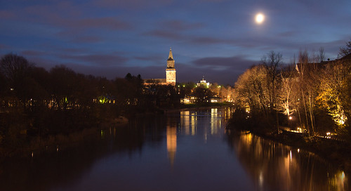 city sky moon night river lights turku cathedral clounds