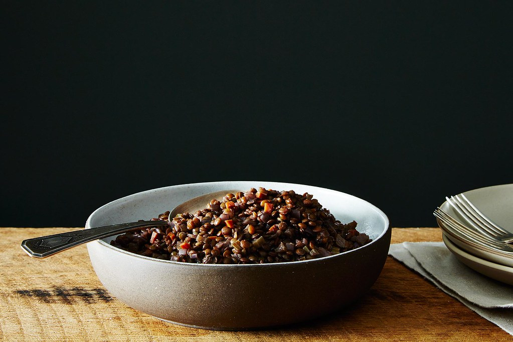 Judy Rogers' Lentils Braised in Red Wine