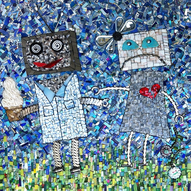 Almost finished with the robot mosaic, with no idea what to make next! Suggestions are both welcome and encouraged!