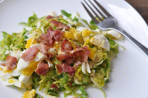 November 25 #dailylunches - Shaved raw brussels sprouts with bacon and egg.