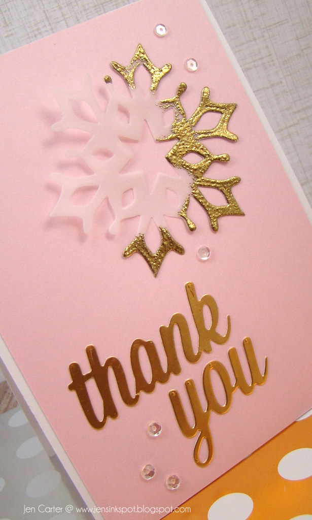 Jen Carter Gold Snowflake Thank You Card Closeup