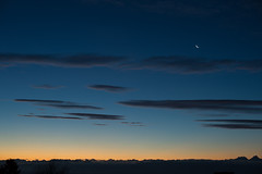 Sunrise Over the Alps with Moon