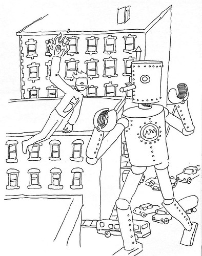 Mega-j vs a Robot