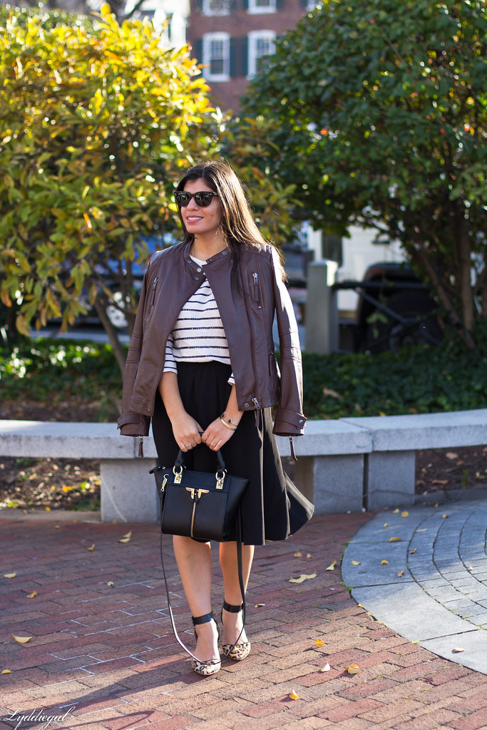 leather jacket, black skirt, striped shirt.jpg