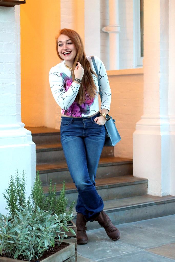 Asos petal crop jumper, bootcut jeans (7)