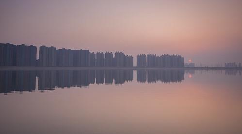 china sunset lake reflection twilight horizon reservoir maze hefei ilobsterit dafangying