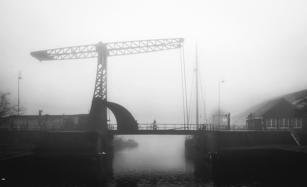 Amsterdam drawbridge in the fog