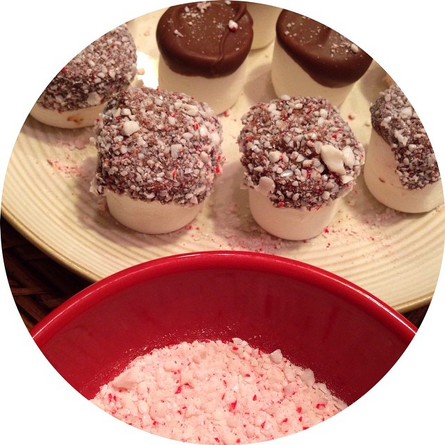 30. I Bought This! I bought peppermint 🍥, almond chocolate 🍫, and jumbo marshmallows and made these delicious dippers to add to your hot cocoa. ☕️☕️☕️ I'm having a couple friends over tomorrow to do Christmas craf