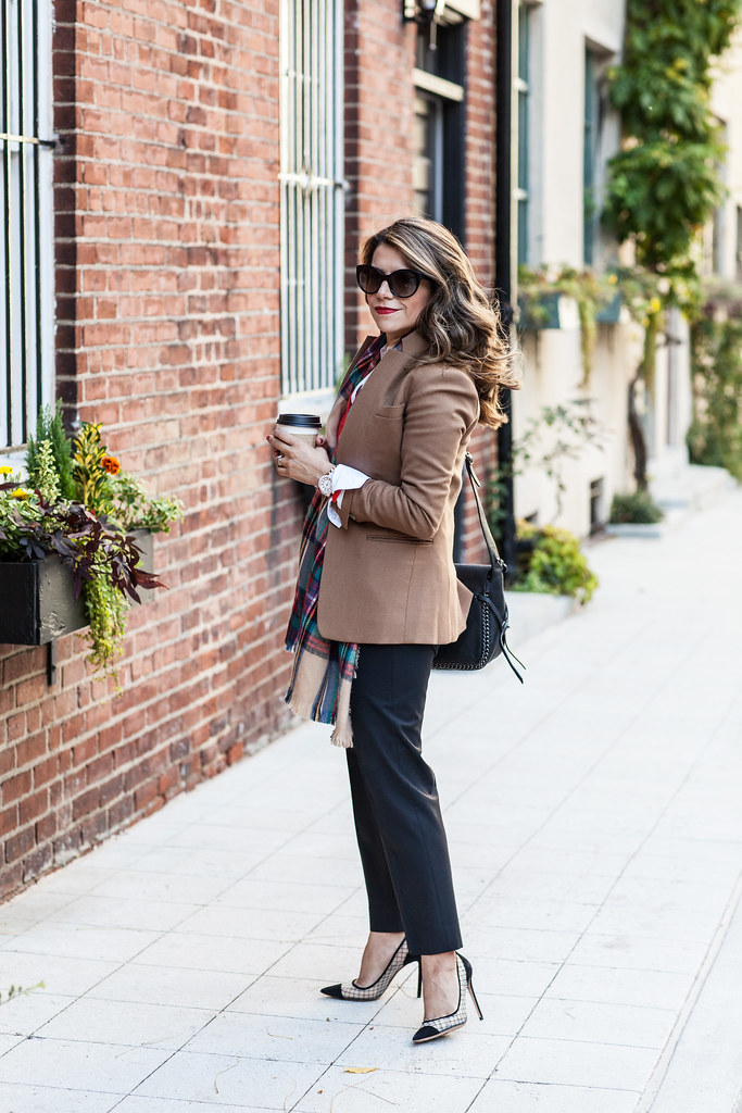 jcrew regent blazer camel blazer plaid scarf target style orange cardigan white button down shirt black trousers kurt geiger black suede heels prada cat eye sunglasses coach dakotah satchel  fall outfit what to wear to work professional woman blogger new york city blogger corporate catwalk easy outfits to wear to the office during the fall