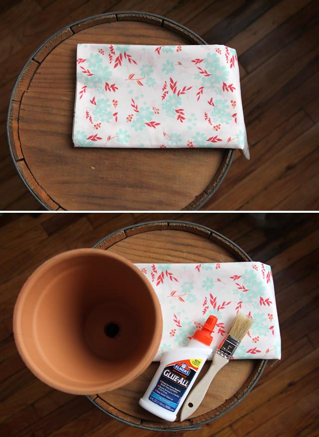 DIY Fabric Covered Terra Cotta Pots 1
