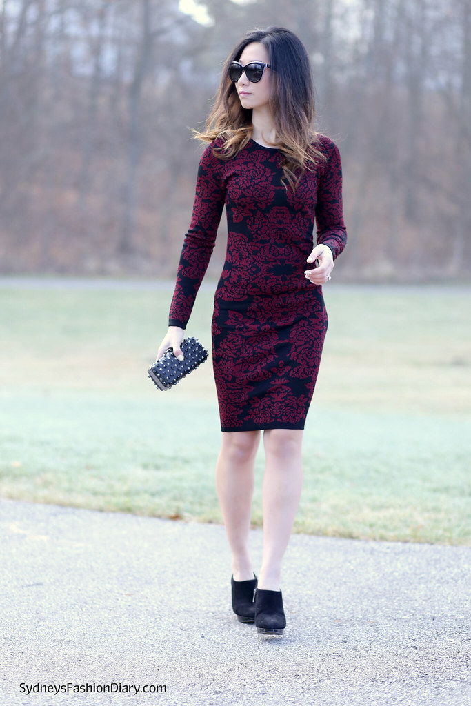 Burgundy bodycon dress_SydneysFashionDiary