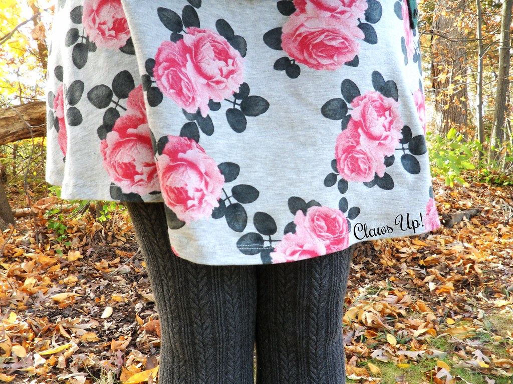 Grey, pink, and green fall floral dress