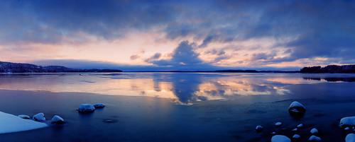 camera winter lake ice finland horizon panoramic slidefilm karijarvi