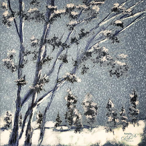 Wintry Image of trees and snow that I painted