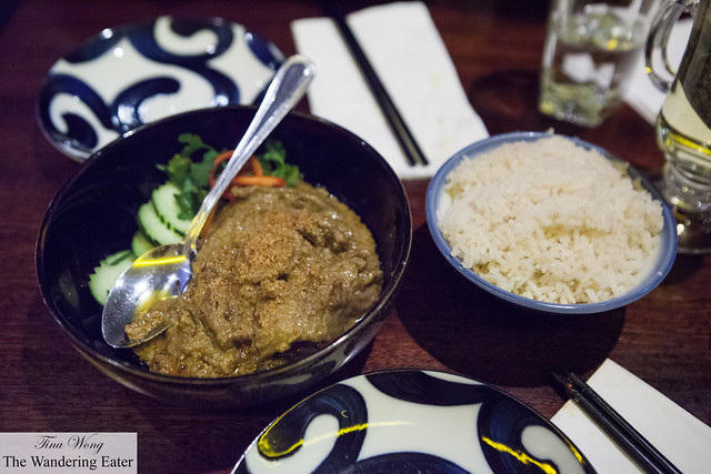 Beef Rendang served with coconut rice