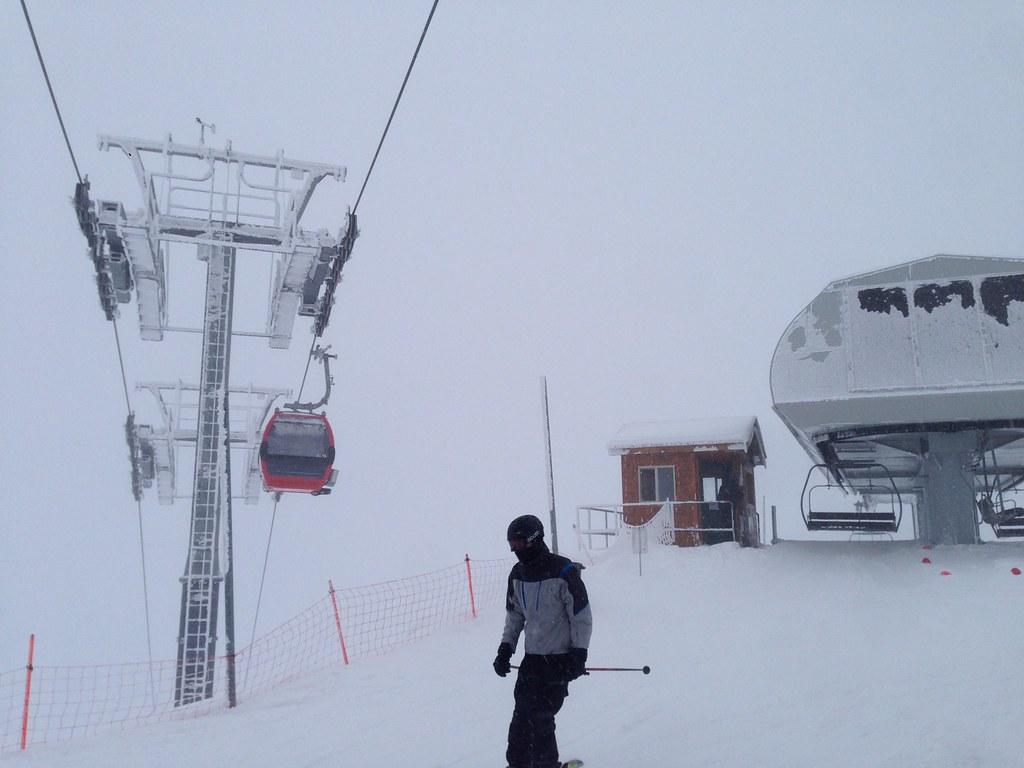 Skier passing the Gondola