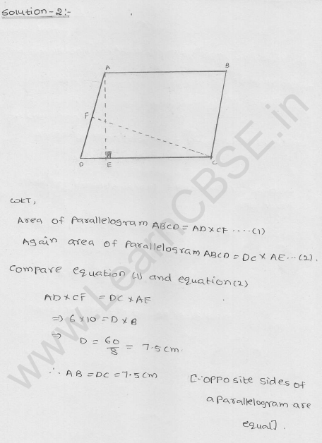 Free RD Sharma Class 9 solutions Chapter 15 Areas of parrallelograms and Triangles Ex 15.2 2