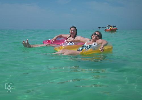 kayak florida daughter spouse raft float relaxed destin drift sunbathe miramarbeach tankini