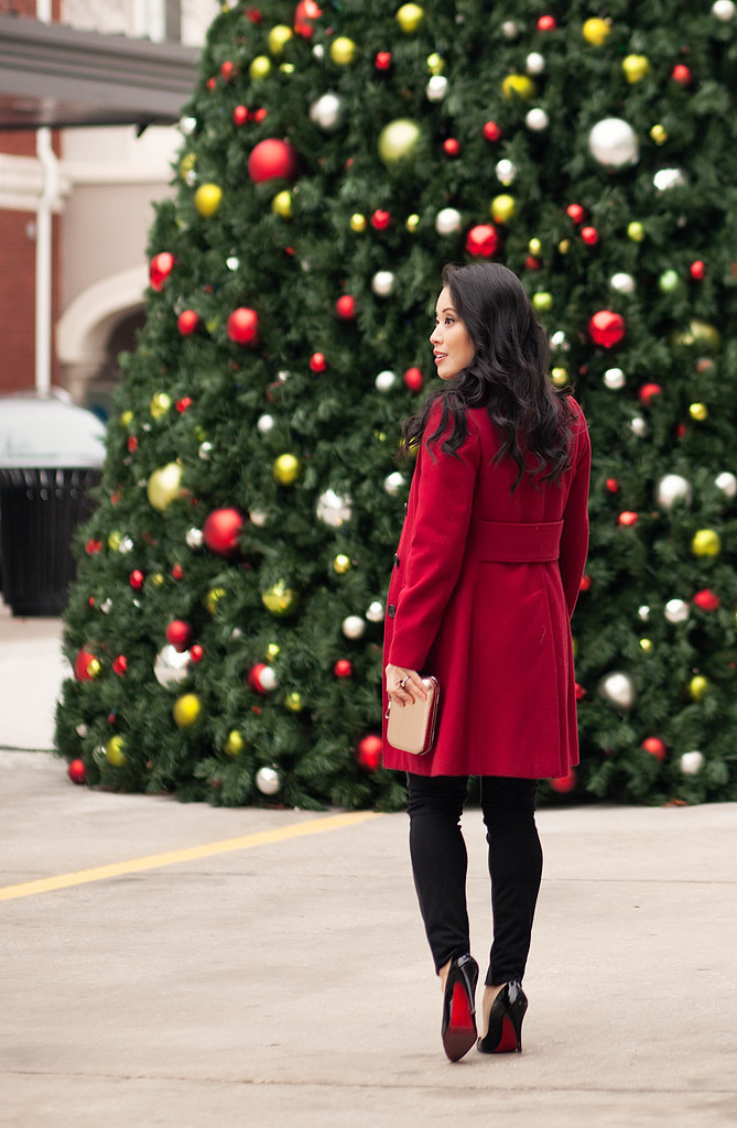 cute & little blog | petite fashion maternity | red wool coat, leather ponte pants, louboutin decollete pumps | holiday sequins festive nye outfit