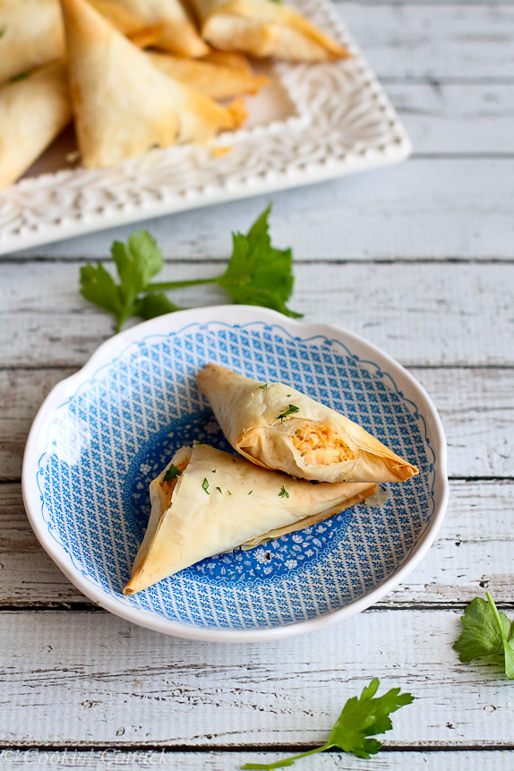 Lightened-Up Buffalo Chicken Phyllo Turnovers...Fantastic for the Super Bowl! 105 calories and 3 Weight Watcher PP for two. | cookincanuck.com