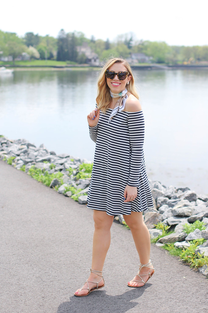 Striped Off Shoulder Dress | ASOS Silk Neck Scarf | Steve Madden Lace Up Sandals | Memorial Day Summer Outfit on Living After Midnite by Jackie Giardina