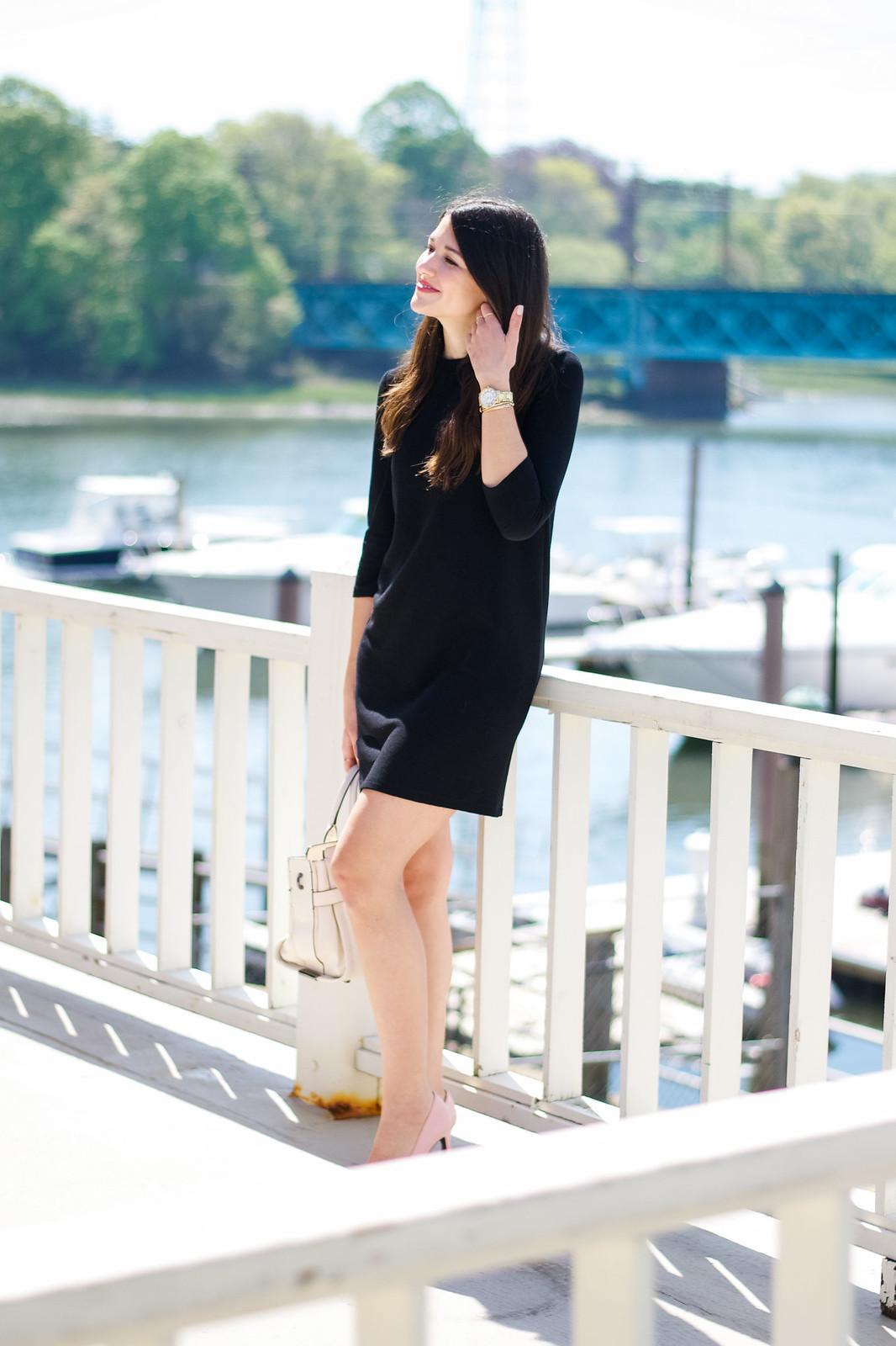 Asos Black Shift Dress Outfit