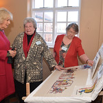 Shirley, Camilla, Jenny and the display, by Stamford Bridge Tapestry Project