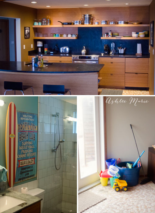 not only is the beach front location amazing but the interior of this airbnb rental was outstanding, a full gorgeous kitchen amazing bathroom and tons of beach toys