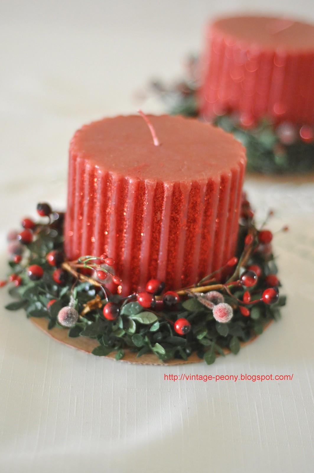 vintage peony  diy christmas candle (5)