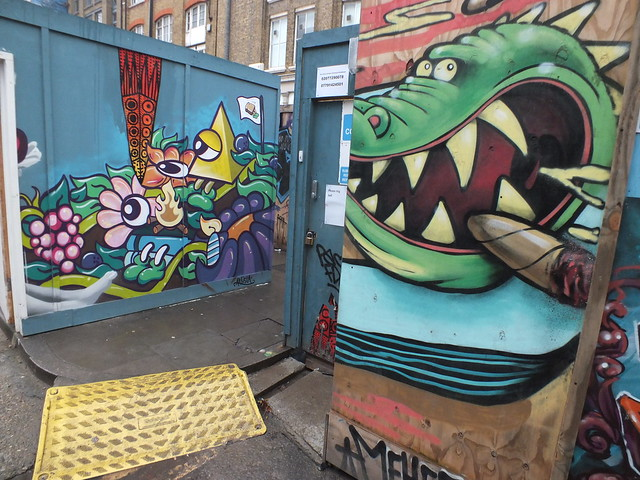 Street art in Willow St and Blackall Street, London