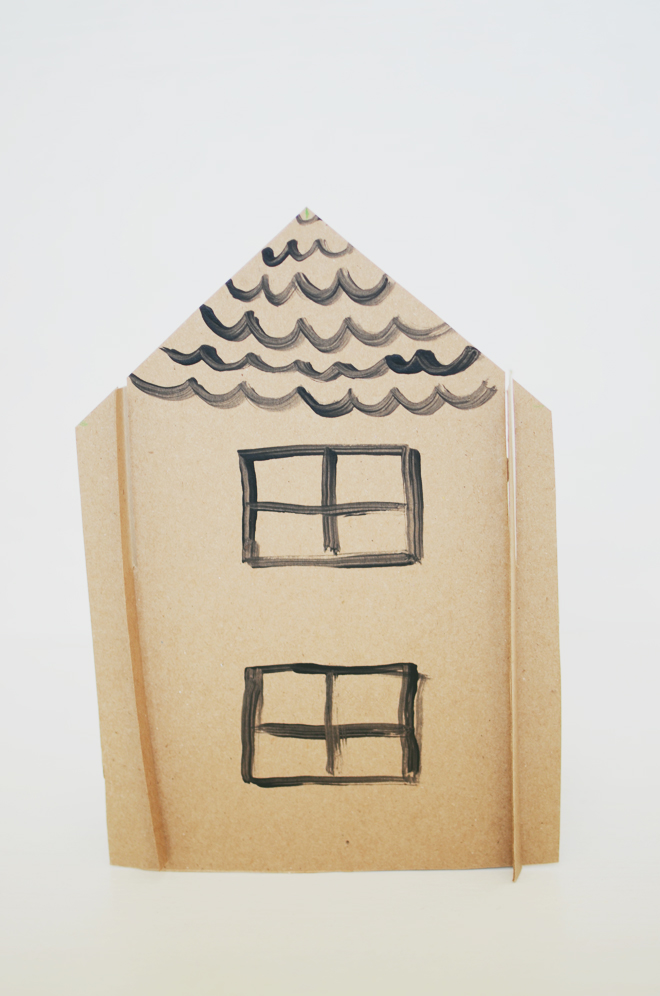 tiny slotted house from a box