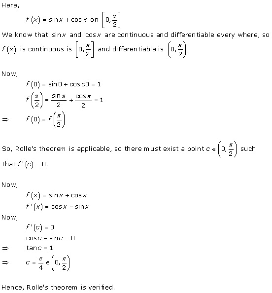 RD Sharma Class 12 Solutions Chapter 15 Mean Value Theorems Ex 15.1 Q6-xi