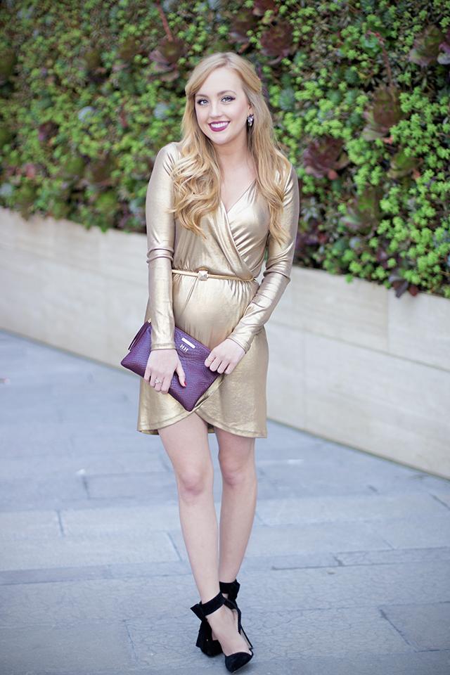 asos gold wrap dress