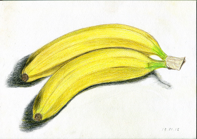 bananas. colored pencils. A4