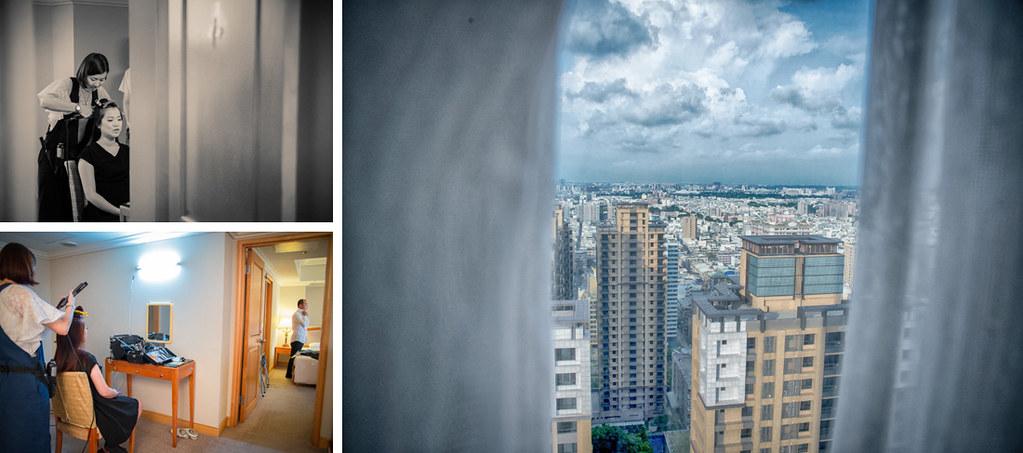 新娘和新郎在做準備梳妝, 從寒軒國際大飯店11樓看出去