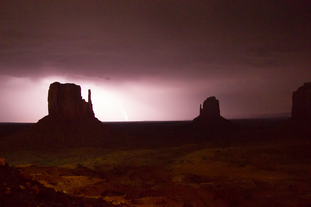 Storms and Lightning in Monument Valley, Utah