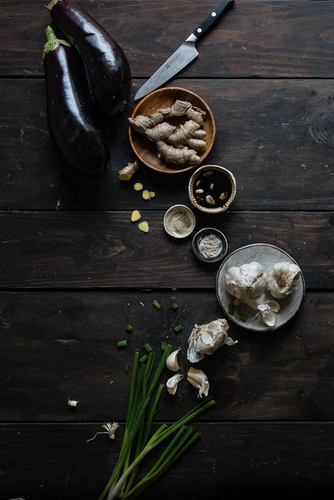 eggplant with spicy garlic sauce & ground pork | two red bowls x @kitchendaily & @noyolkspasta #onlynoyolks