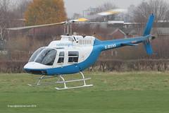 G-BXNS - 1977 build Bell 206B Jet Ranger III, departing Barton after a fuel stop
