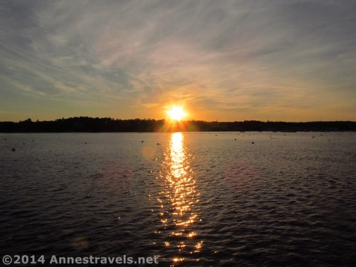The sun sets over Plymouth Harbor, Plymouth, MA