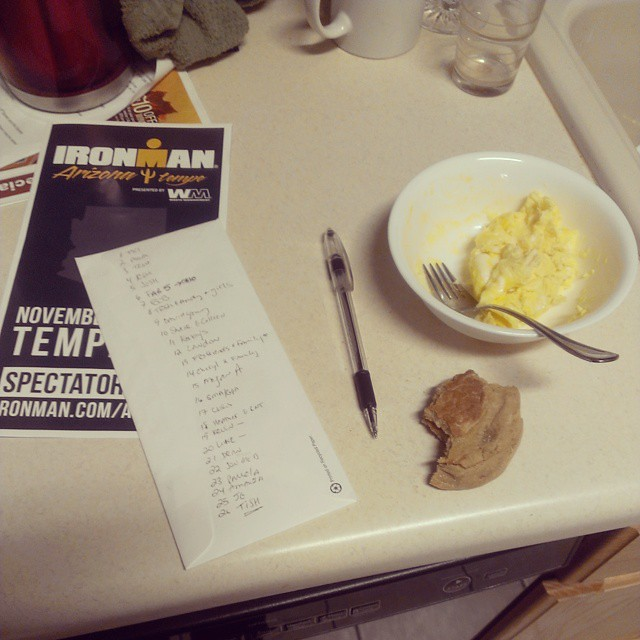 Morning race prep. Holy moly I feel like vomiting. Shove it in and get it out!! #ironmanarizona #imaz