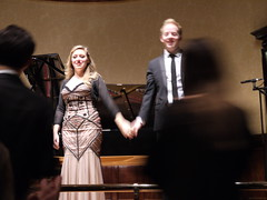 Sophie Bevan and Sebastian Wybrew accepting the applause after their Wigmore Hall recital on 14 December 2014